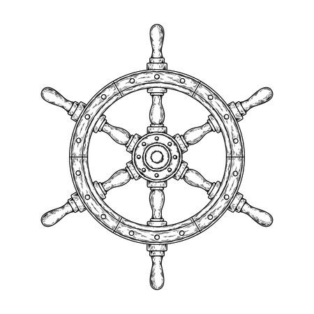 illustration of an old nautical wooden steering wheel Stock Photo