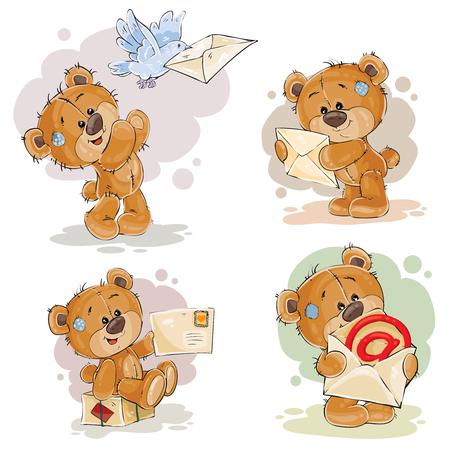 Ensemble d'illustrations de clipart vecteur d'ours en peluche reçoit et envoie des lettres
