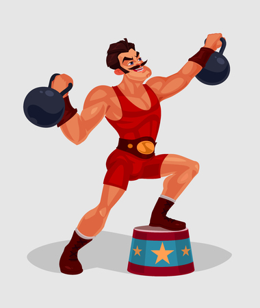 illustration of a circus weightlifter Stock Photo