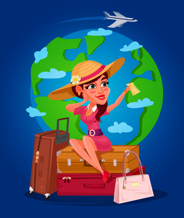 young girl: illustration of a young girl - the traveler Stock Photo