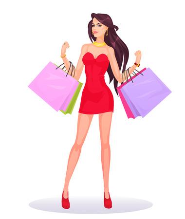 shopper: smiling girl shopper Stock Photo