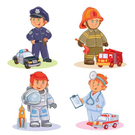 diferentes profesiones: Set icons of small children different professions Foto de archivo