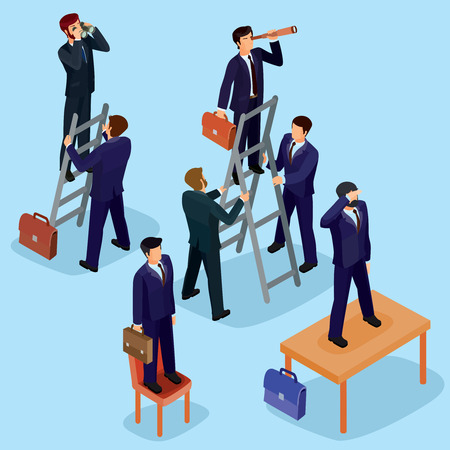 Vector illustration of 3D flat isometric people. The concept of a business leader, lead manager, CEO. Illustration