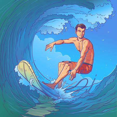 illustration of a surfer