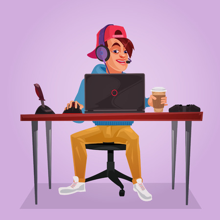 illustration of a teenager sitting at laptop