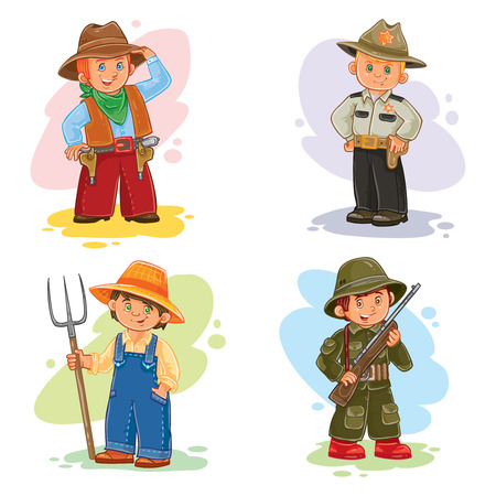 fun at work: Set icons of small children different professions Stock Photo