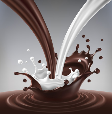 Vector illustratie van een stroom van melk en chocolade gemaakt rimpeling en splash. Stock Illustratie