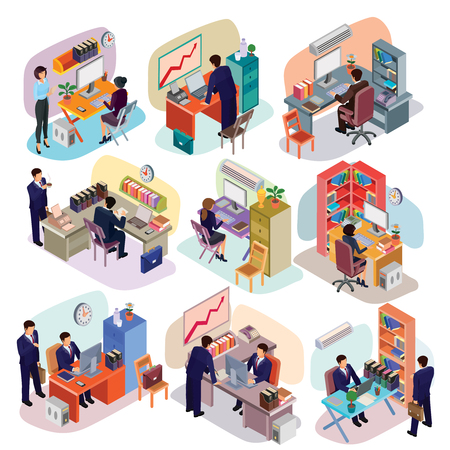 furnishings: Set of isometric people in business suits in the office. Illustration