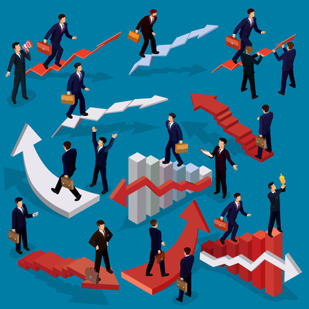 Vector illustration of 3D flat isometric people. Concept of business growth, career ladder, the path to success. Illustration