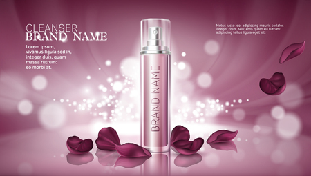 Glanzende roze achtergrond met hydraterende cosmetische premiumproducten