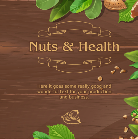 plywood: Vector brown background with wooden texture and ground nuts Illustration