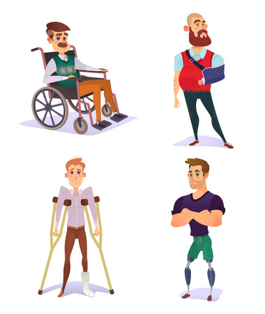 Set of cartoon illustrations of people with disabilities isolated on white. Illustration