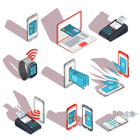 Isometrische pictogrammen van mobiele telefoons, laptop, polshorloges die het gemak en het gemak van online betalingen tonen Stockfoto - 72837508