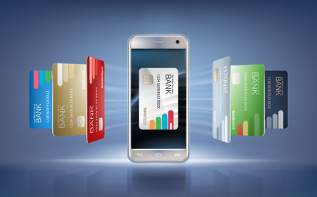 smart card: illustration in a realistic style the concept of mobile payments using the application on your smartphone. Illustration