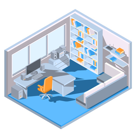 home office: isometric design of a home office Illustration