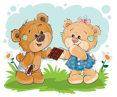 Vector funny teddy bear sweet tooth treats his girlfriend chocolate