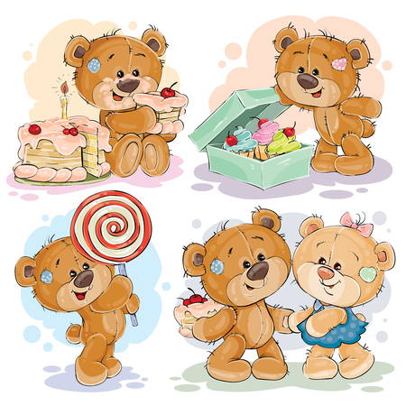 Funny illustrations with teddy bear on the theme of love for sweets Çizim