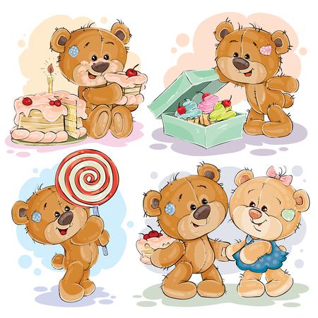 Grappige illustraties met teddybeer op het thema van de liefde voor snoep