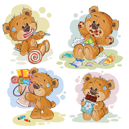 Funny illustrations with teddy bear on the theme of love for sweets Vectores