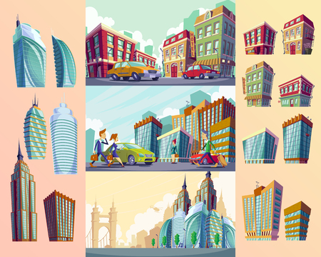 penthouse: Set vector cartoon illustrations of an old buildings, urban large modern buildings, cars and urban residents. Illustration