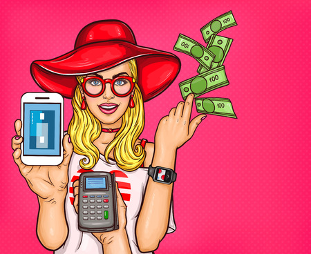 Vector Pop Art illustration of a young girl demonstrates the possibility of online shopping, electronic payments