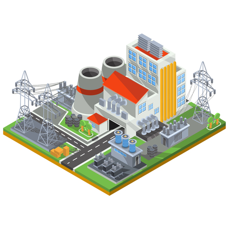 Vector isometric illustration of a thermal power plant for the production of electrical energy