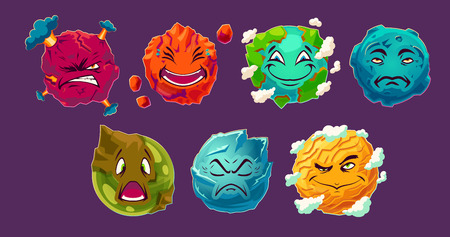 Set of vector cartoon illustrations fantasy alien planets showing different emotions