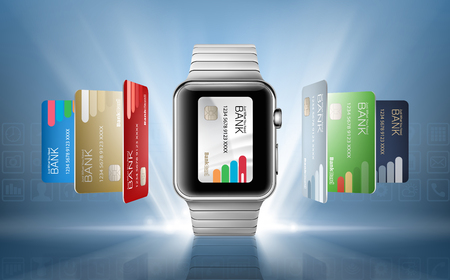 smart card: Vector illustration in a realistic style the concept of e-payments using the application on your wrist watch.