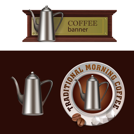 Set of vector banner, badge, sticker with icon coffee pot