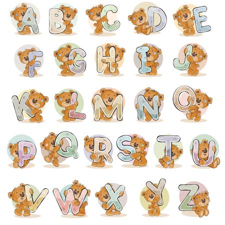 Stel vector letters van het Engels alfabet met grappige teddybeer