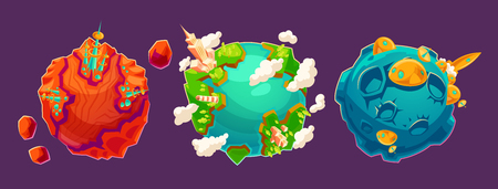 habitable: Set of vector cartoon illustrations fantasy alien planets with buildings and other structures on them