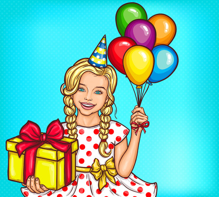 Vector pop art smiling little girl holding a gift and helium balloons Ilustracja