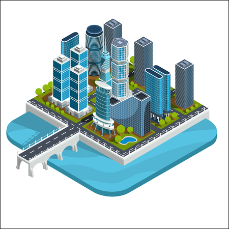 Vector isometric 3D illustrations of modern urban quarter with skyscrapers, offices, residential buildings.