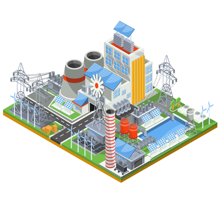 thermal power plant: Isometric vector illustration of a thermal thermal power plant running on alternative sources of energy.