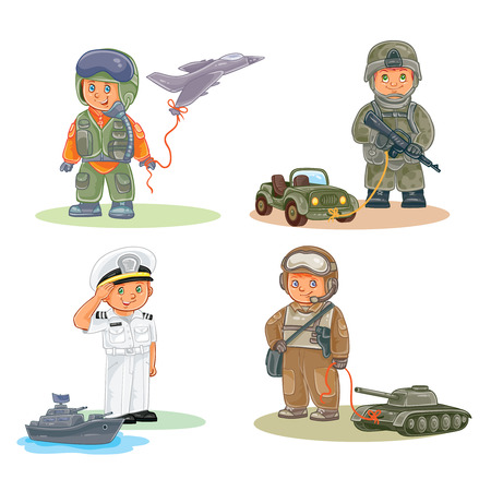 Set icons of small children different professions Stock Photo