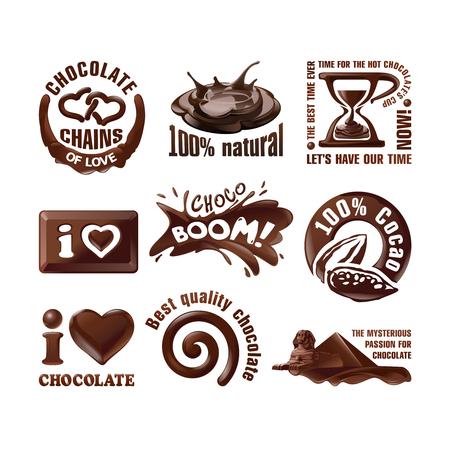 Zet chocolade logo's en labels. Stockfoto