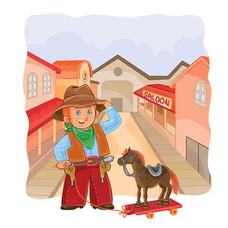 illustration of little cowboy with a wooden horse Stock Photo