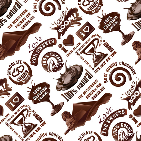 seamless pattern of chocolate labels Stock Photo