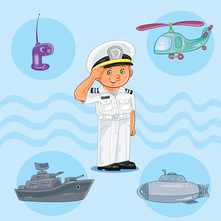 Little boy seaman with a warship, submarine and helicopter Stock Photo