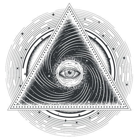 Vector tattoo illustration abstract sacred geometry with an all-seeing eye. Çizim