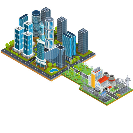 thermal: Vector isometric 3D illustrations of modern urban quarter with skyscrapers and a nearby power station