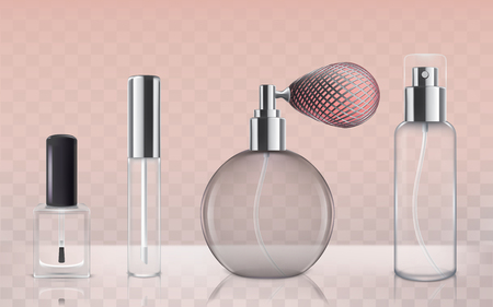 gloss: Collection of empty glass cosmetic bottles in realistic style Illustration