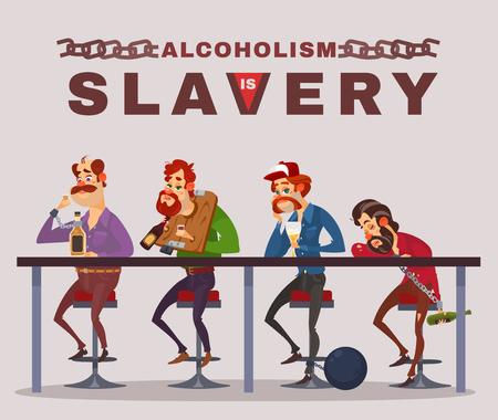 heaviness: Cartoon illustration of men with alcohol addiction, metaphor.