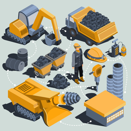 Set of vector isometric isolated elements of the coal mining industry