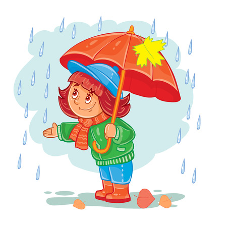 Icon of small girl with an umbrella standing in the rain. Illustration