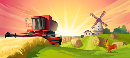 illustration rural summer landscape with a windmill and combine harvester in the foreground Stock Photo