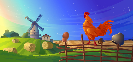 illustration rural summer landscape with a windmill and rooster crowing on the lath fence