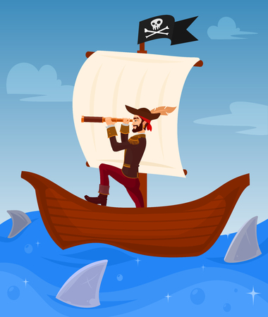 illustration of a pirate captain leads his ship among dangerous sharks
