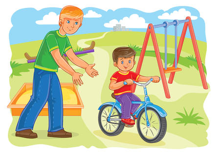 teaches: illustration of a father or an older brother teaches to ride a bike a little boy