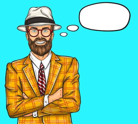 illustration of a confident pop art hipster man in a hat and glasses